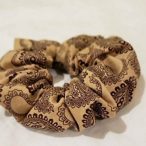 Paisley Brown Hair Scrunchie
